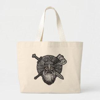 viking man germanic nordic norse runic large tote bag