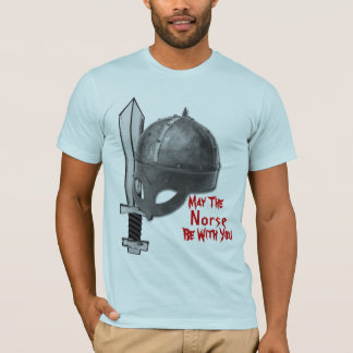viking norsemen helmet with broadsword tshirt