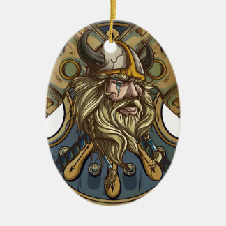 Viking Double-Sided Oval Ceramic Christmas Ornament