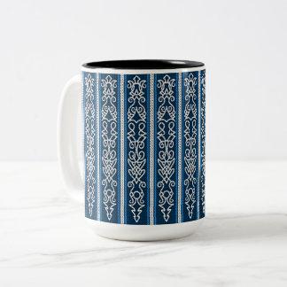 Viking Pattern Blue Two-Tone Coffee Mug