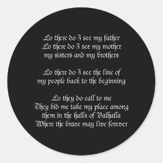 Viking Prayer Black Classic Round Sticker