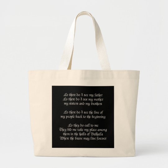 Viking Prayer Black Large Tote Bag