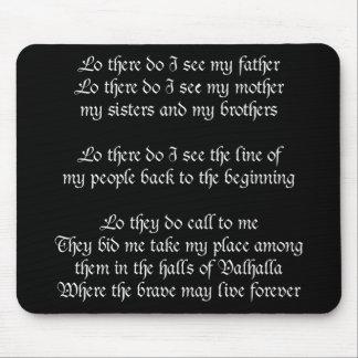 Viking Prayer Black Mouse Pad