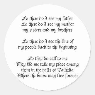 Viking Prayer Classic Round Sticker