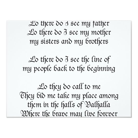 Viking Prayer Lo There Do I See My Father Card