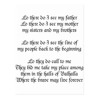 Viking Prayer Lo There Do I See My Father Postcards