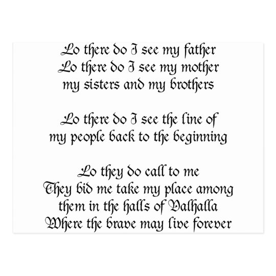 Viking Prayer Lo There Do I See My Father Postcard Zazzle Com