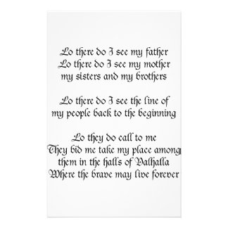 Viking Prayer Lo There Do I See My Father Stationery