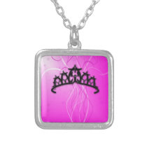 Viking Princess Crown- pink Silver Plated Necklace