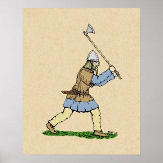 Viking que maneja el poster del Amplio-Hacha