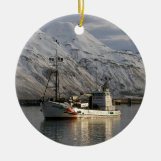 Viking Queen, Crab Boat in Dutch Harbor, AK Ceramic Ornament