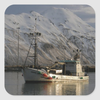 Viking Queen, Crab Boat in Dutch Harbor, AK Square Sticker