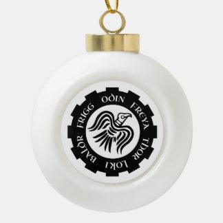 Viking Raven Banner Ceramic Ball Christmas Ornament