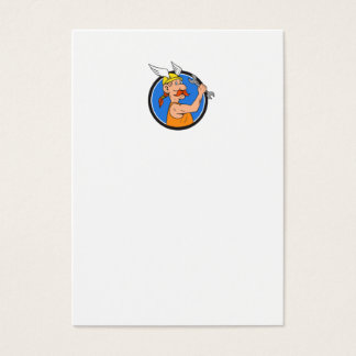 Viking Repairman Spanner Circle Cartoon Business Card