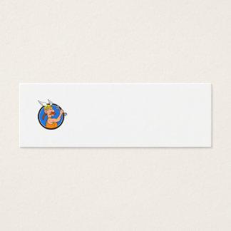 Viking Repairman Spanner Circle Cartoon Mini Business Card