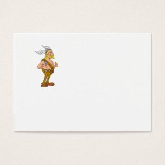 Viking Repairman Spanner Thumbs Up Cartoon Business Card