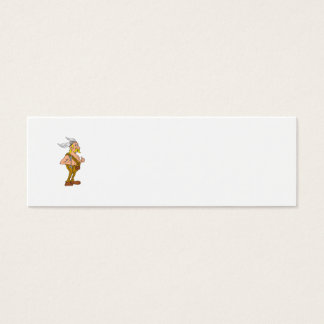 Viking Repairman Spanner Thumbs Up Cartoon Mini Business Card