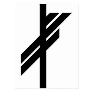 Viking Rune - Luck - black Postcard
