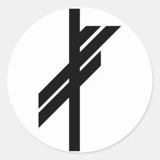 Viking Rune - Luck - black Classic Round Sticker