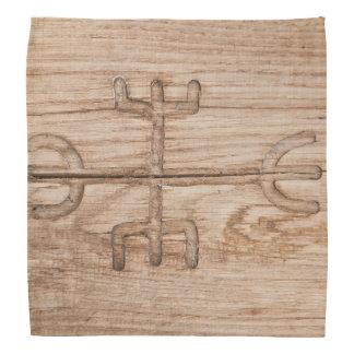 Viking rune on cracked wood bandana