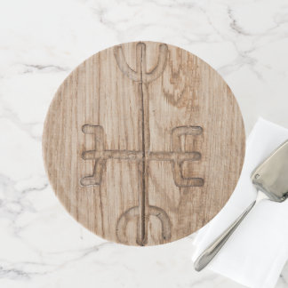Viking rune on cracked wood cake stand