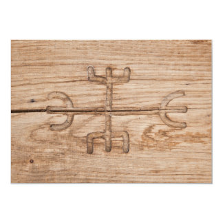 Viking rune on cracked wood card