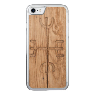 Viking rune on cracked wood carved iPhone 7 case
