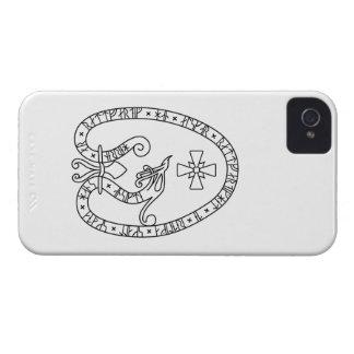 Viking Rune Stone black wild duck white iPhone 4 Case