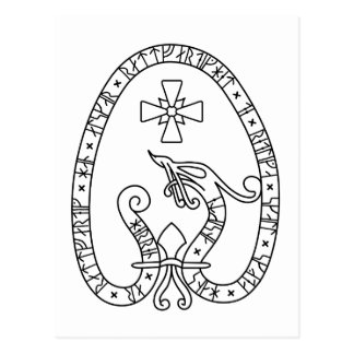 Viking Rune Stone black wild duck white Postcard