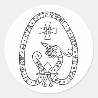 Viking Rune Stone black wild duck white Classic Round Sticker