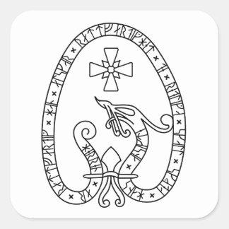 Viking Rune Stone black wild duck white Square Sticker