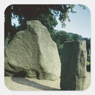 Viking rune stones square sticker