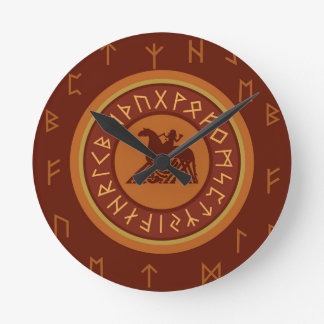 Viking Runes Round Clock