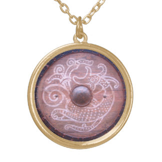 Viking Serpent Shield Gold Plated Necklace