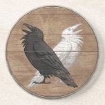 "Viking Shield Coaster - Odin&#39;s Ravens<br><div class=""desc"">A quality sandstone drink coaster featuring Odin&#39;s ravens as a cool twist on the Ying Yang symbol over beautifully weathered wooden Viking shield background.</div>"