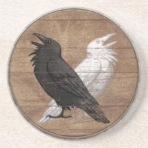 Viking Shield Coaster - Odin's Ravens