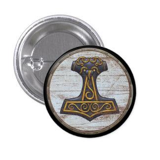 Viking Shield Emblem - Thor's Hammer Button