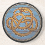 "Viking Shield - J&#246;rmungandr Sandstone Coaster<br><div class=""desc"">J&#246;rmungandr,  also known as the Midgard Serpent,  depicted over a beautifully weathered wooden Viking Shield background.</div>"