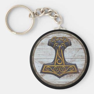 Viking Shield Keychain - Thor's Hammer