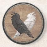 Viking Shield - Odin's Ravens Sandstone Coaster