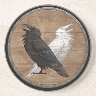 Viking Shield - Odin's Ravens Sandstone Coaster