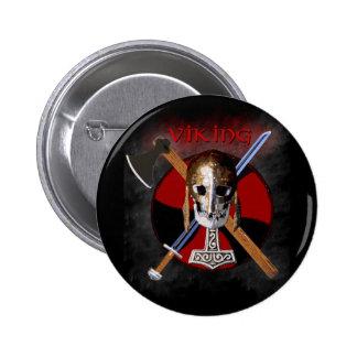 VIKING - Shield Skull Pin Redondo De 2 Pulgadas