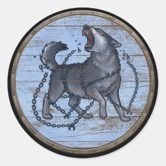Viking Shield Sticker - Fenrir