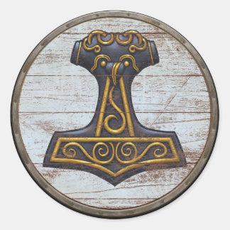 Viking Shield Sticker - Mjolnir
