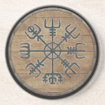 "Viking Shield  - Vegv&#237;sir Coaster<br><div class=""desc"">Vegv&#237;sir,  also known as the Viking Compass,  is depicted on a beautifully weathered wooden Viking Shield background to guide you true to your destination.</div>"