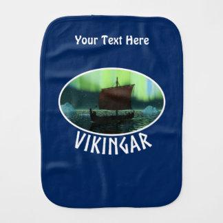 Viking Ship And Northern Lights Baby Burp Cloth