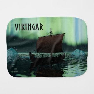 Viking Ship And Northern Lights Baby Burp Cloths