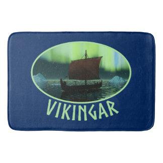 Viking Ship And Northern Lights Bath Mat
