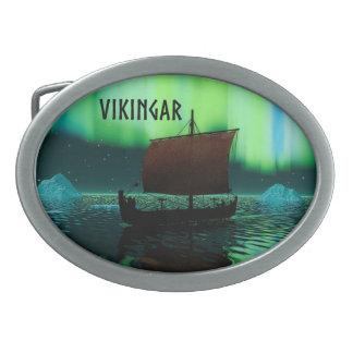 Viking Ship And Northern Lights Belt Buckle