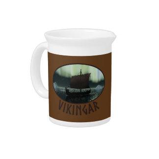 Viking Ship And Northern Lights Beverage Pitcher